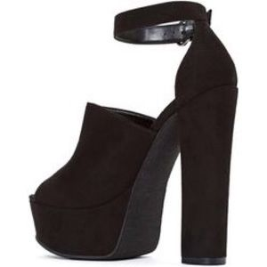 Nasty Gal Shoe Cult Suede Peep Toe Platform Heels